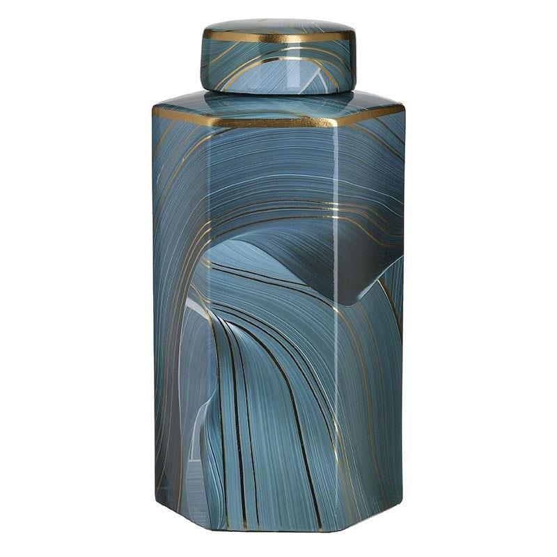 Βάζο διακοσμητικό με καπάκι κεραμικό μπλε 16x14x22cm Inart 3-70-902-0139