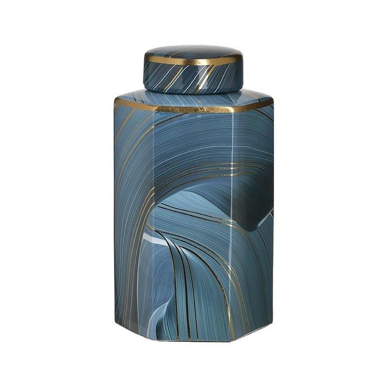 Βάζο διακοσμητικό με καπάκι κεραμικό μπλε 15x13x26cm Inart 3-70-902-0140