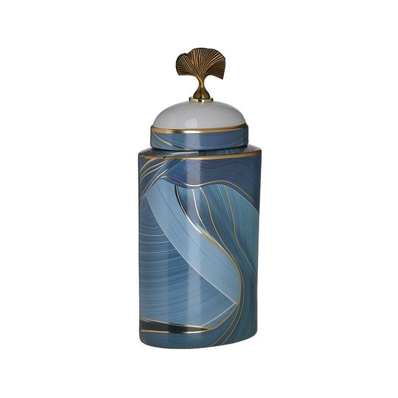 Βάζο διακοσμητικό με καπάκι κεραμικό μπλε/χρυσό 15x10x36cm Inart 3-70-902-0142