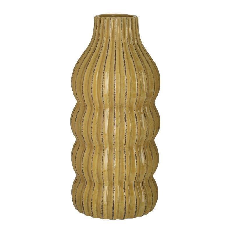 Διακοσμητικό βάζο κεραμικό κιτρινο 14x14x30cm Inart 3-70-755-0065