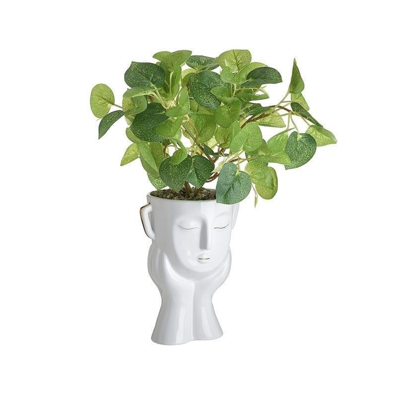 Βάζο διακοσμητικό πρόσωπο με λουλούδι κεραμικό λευκό 12x14x20cm Inart 3-70-524-0035