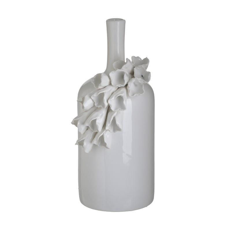 Διακοσμητικό βάζο κεραμικό λευκό 14x13x27cm Inart 3-70-755-0056