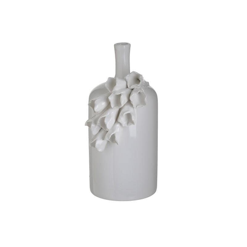 Βάζο διακοσμητικό κεραμικό λευκό 9x9x20cm Inart 3-70-755-0057