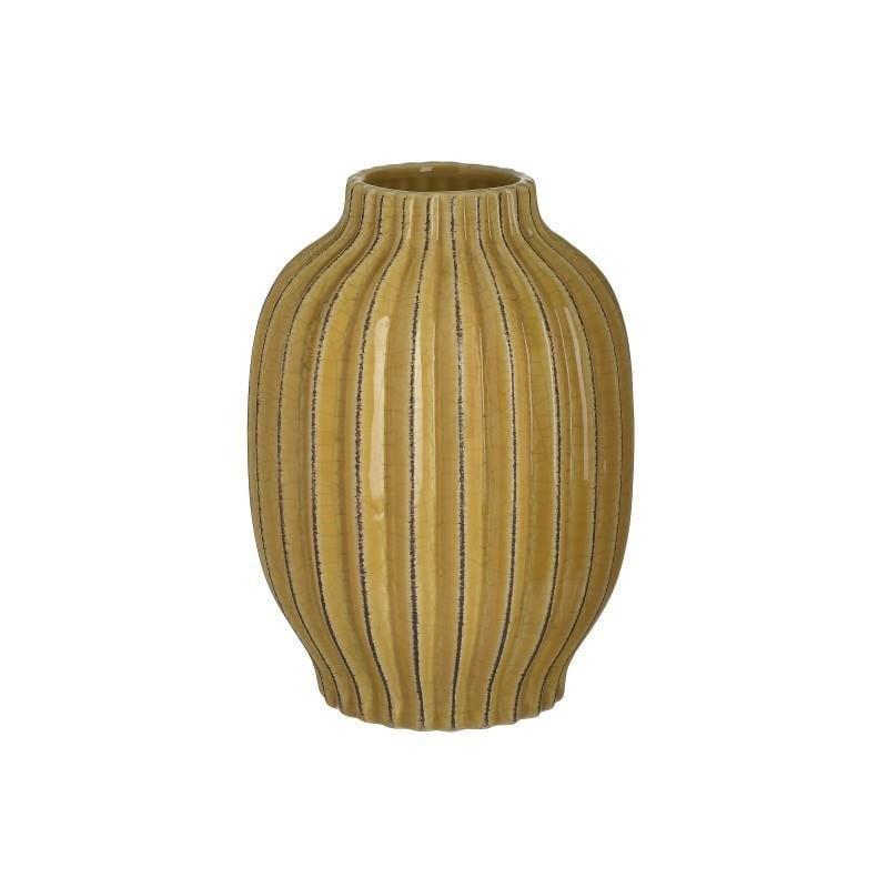 Βάζο διακοσμητικό κεραμικό κίτρινο 15x15x20cm Inart 3-70-755-0067