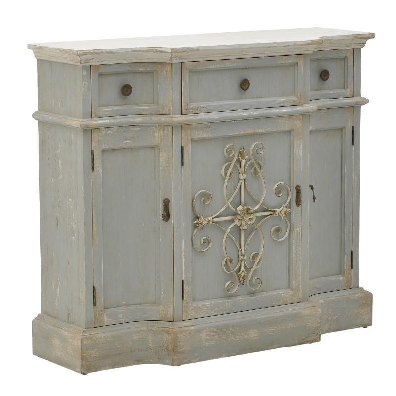 Μπουφές ξύλινος αντικέ κρεμ/γαλάζιος 112x38x98cm Inart 3-50-725-0019