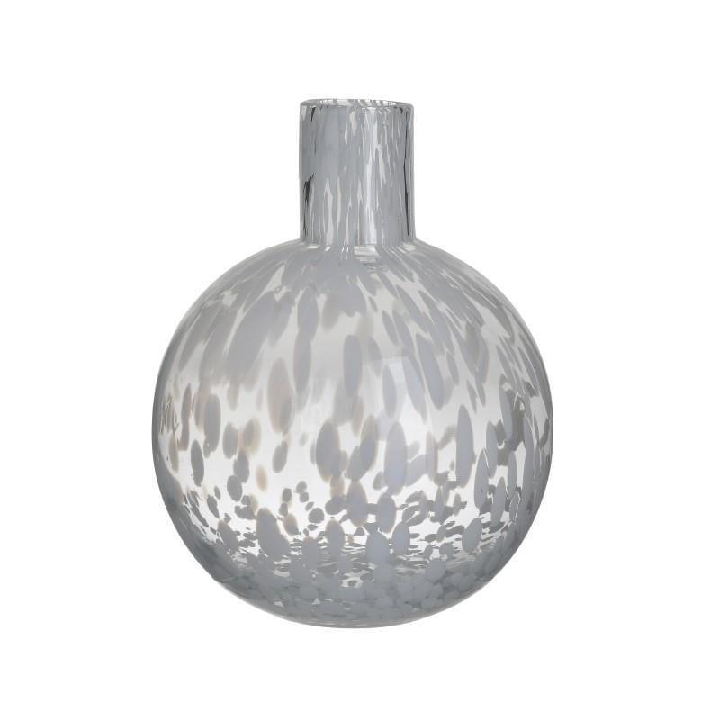 Βάζο διακοσμητικό γυάλινο διάφανο λευκό 18x18x23cm Inart 3-70-621-0055