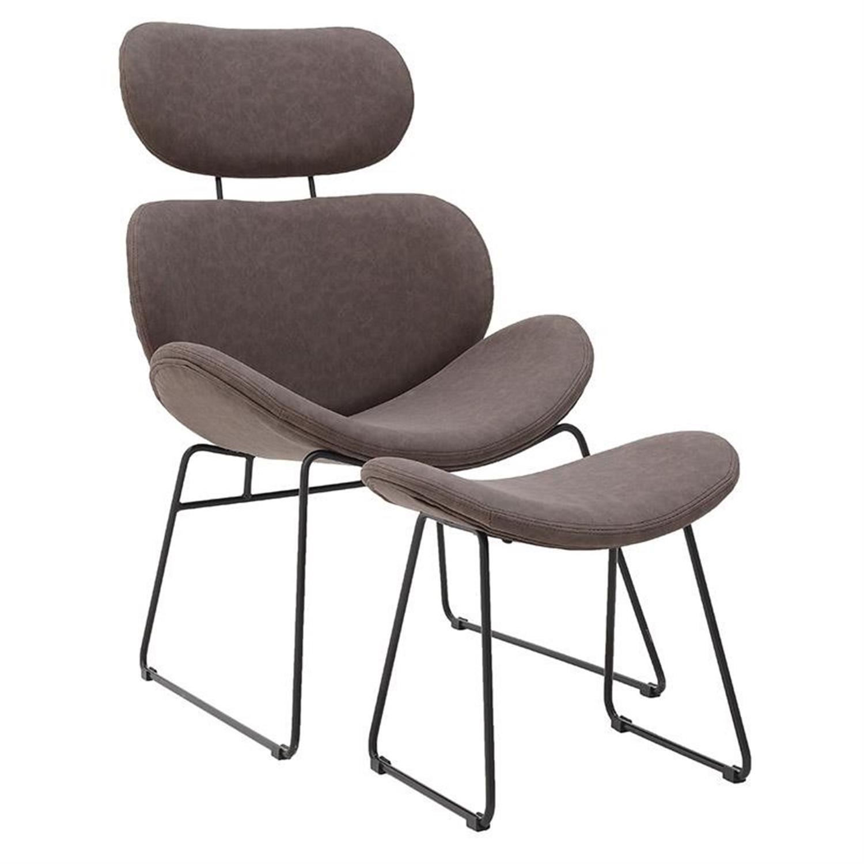 S/2 Πολυθρόνα και υποπόδιο μεταλλική/pu καφέ 63x58x96cm Inart 3-50-668-0007