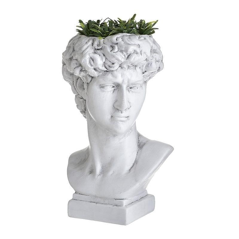 Βάζο διακοσμητικό προτομή αρχαική με φυτό κεραμικό λευκό 16x14x27cm Inart 3-70-524-0027
