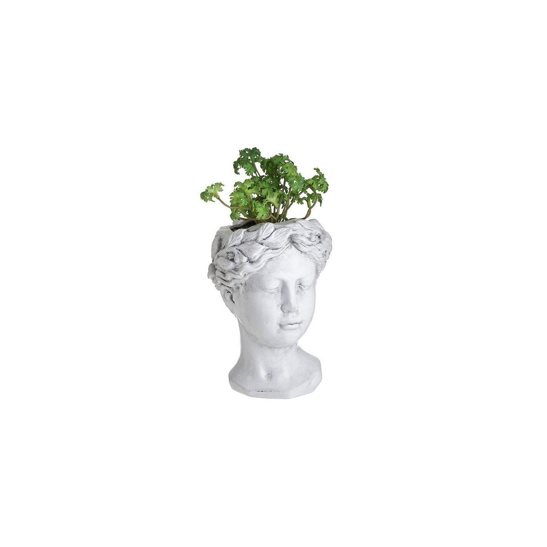 Διακοσμητικό επιτραπέζιο αρχαική προτομή με φυτό κεραμική αντικέ λευκή 14x13x27cm Inart 3-70-524-0028