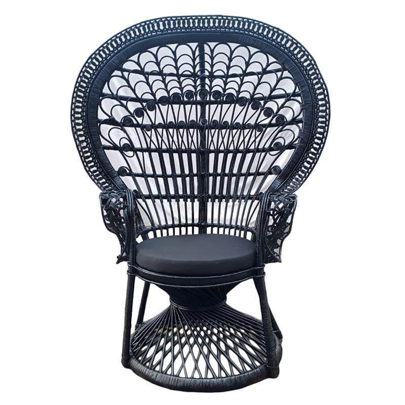 Καρέκλα Peacock rattan μαύρη 115x72x149cm Inart 3-50-908-0003