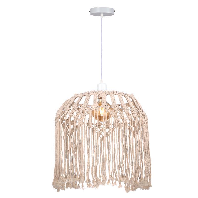 Φωτιστικό οροφής κρεμαστό μονόφωτο woolen μπεζ 40x40cm InLight 4532