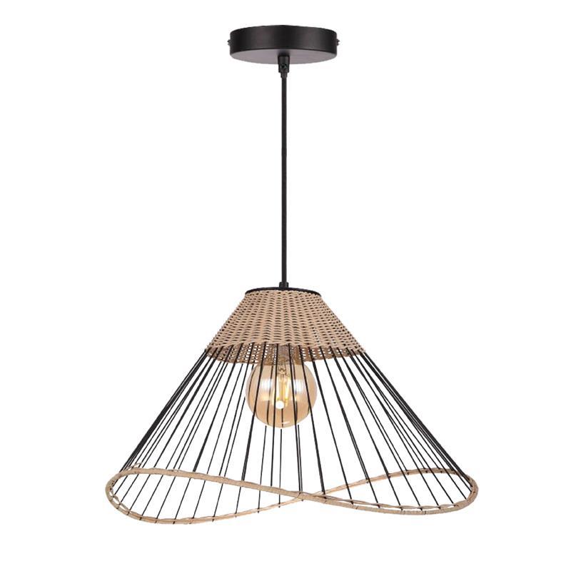 Φωτιστικό οροφής κρεμαστό μονόφωτο μεταλλικό/rattan μαύρο/natural 48x30cm InLight 4530