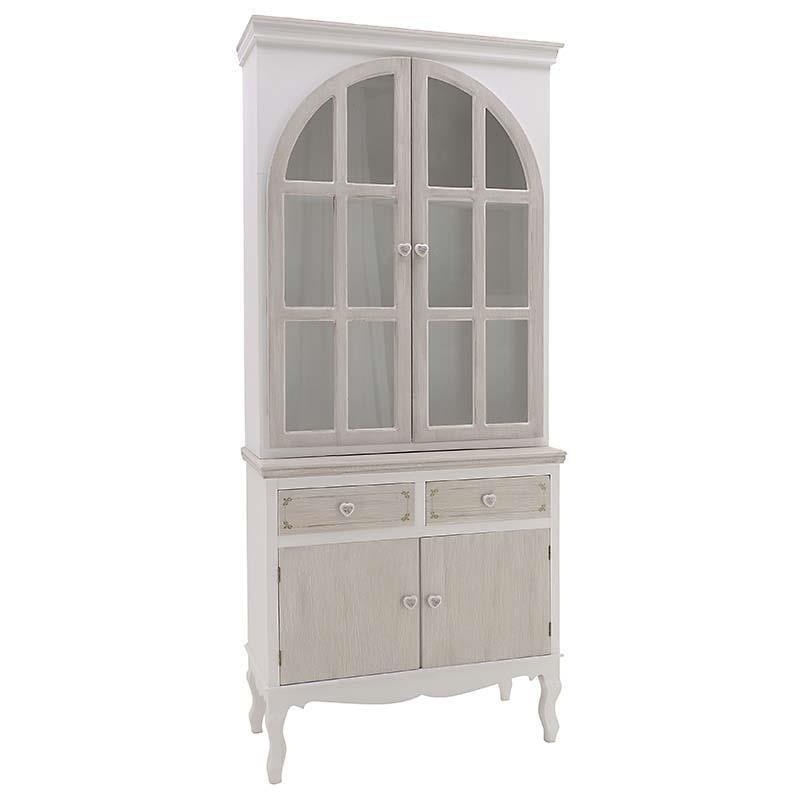 Βιτρίνα ξύλινη λευκή/μπεζ 88x40x200cm Inart 3-50-147-0035