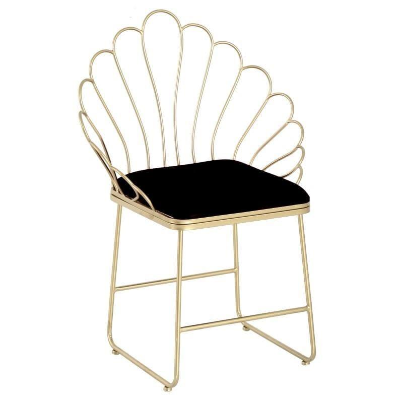 Καρέκλα τραπεζαρίας μεταλλική/βελούδινη χρυσή/μαύρη 62x48x89cm Inart 3-50-973-0003