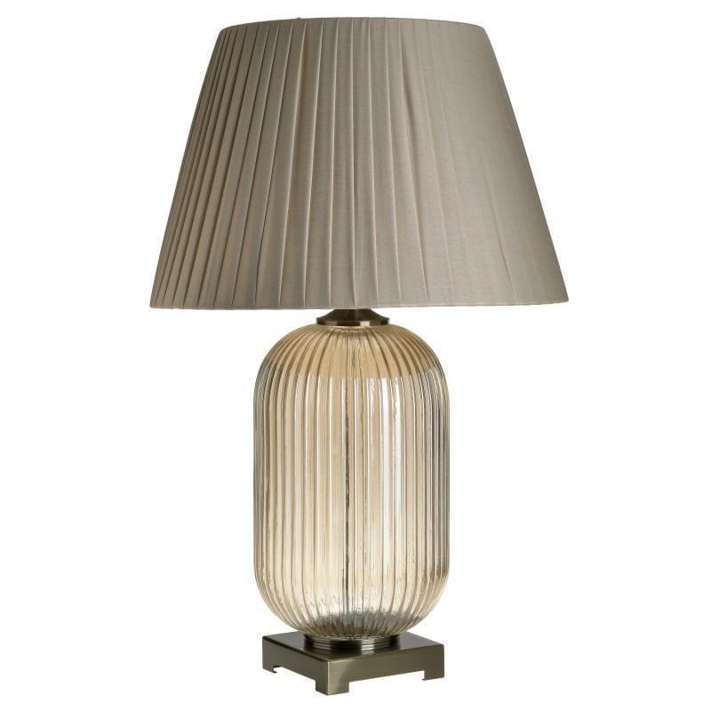 Φωτιστικό επιτραπέζιο γυάλινο/μεταλλικό μελί 43x43x75cm Inart 3-15-959-0062
