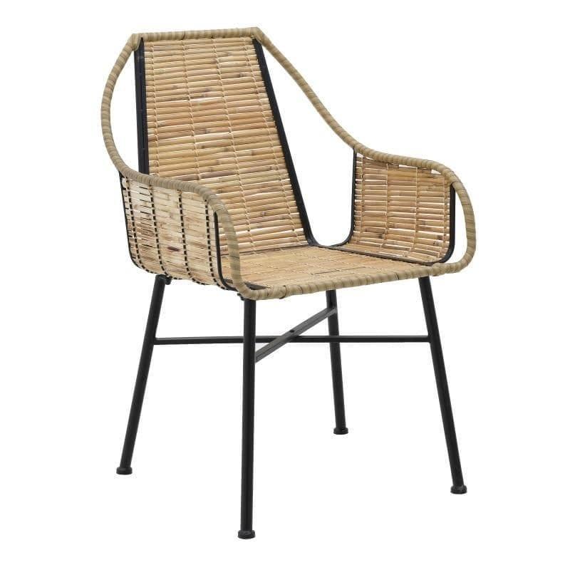 Καρέκλα μεταλλική/bamboo μαύρη/natural 58x64x88cm Inart 3-50-092-0134