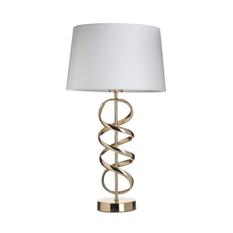 Φωτιστικό επιτραπέζιο μονόφωτο μεταλλικό χρυσό/λευκό 30x30x55cm Inart 3-15-741-0022