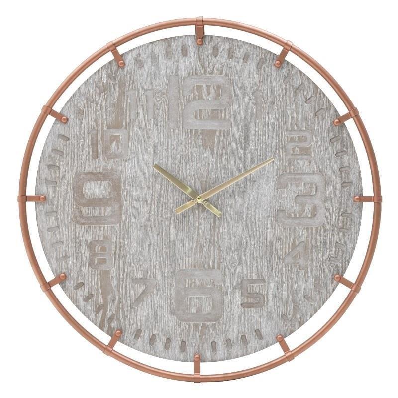 Ρολόι τοίχου ξύλινο(mdf)/μεταλλικό εκρού/μπρονζέ 60x5cm Inart 3-20-463-0031