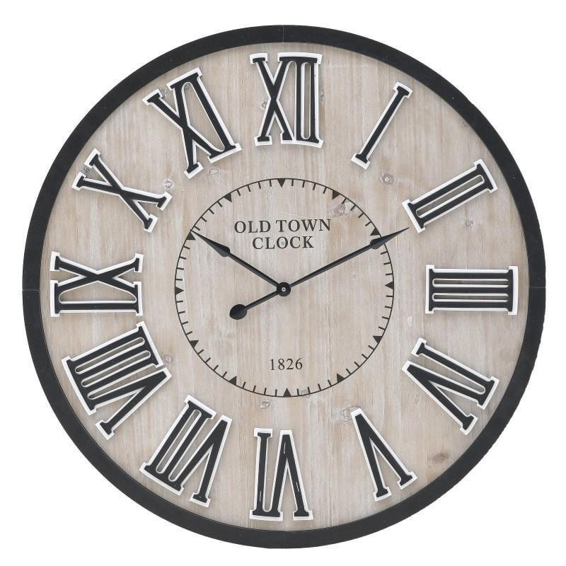 Ρολόι τοίχου ξύλινο(mdf)/μεταλλικό natural μπεζ/μαύρο 60x5cm Inart 3-20-463-0032