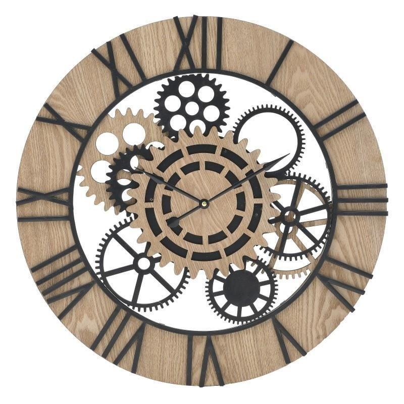 Ρολόι τοίχου γρανάζια ξύλινο(mdf)/μεταλλικό natural μπεζ/μαύρο 60x5cm Inart 3-20-463-0033