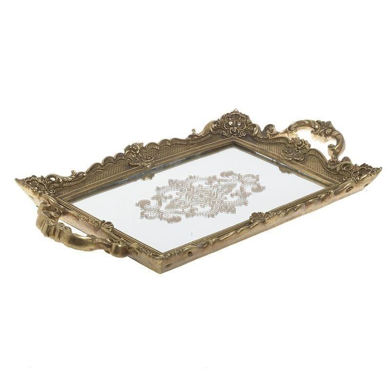 Δίσκος σερβιρίσματος με καθρέπτη polyresin χρυσός 47x27x5cm Inart 3-70-446-0042