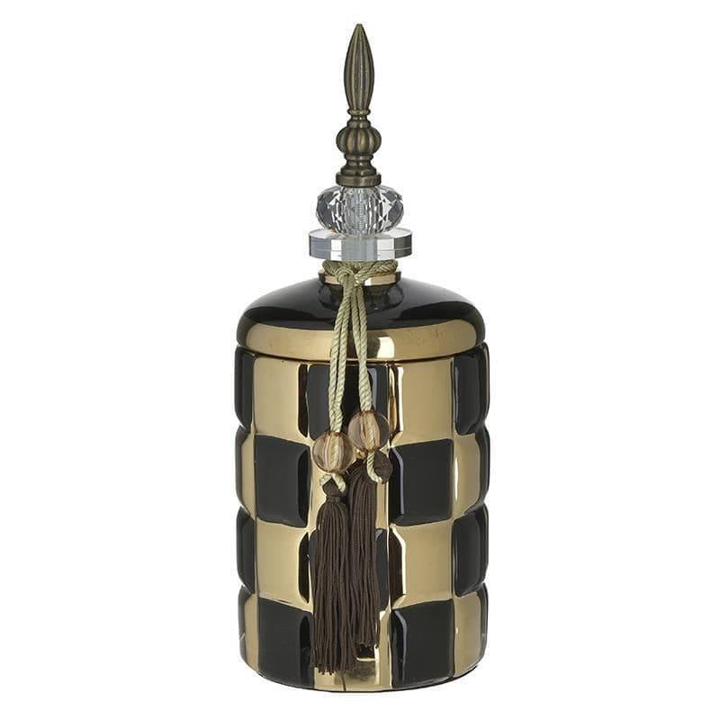 Δοχείο διακοσμητικό με καπάκι κεραμικό μαύρο/χρυσό 12x12x30cm Inart 3-70-743-0192