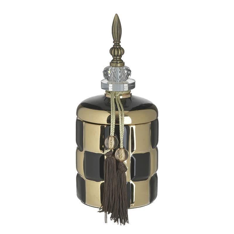 Διακοσμητικό βάζο με καπάκι κεραμικό μαύρο/χρυσό 12x12x27cm Inart 3-70-743-0193
