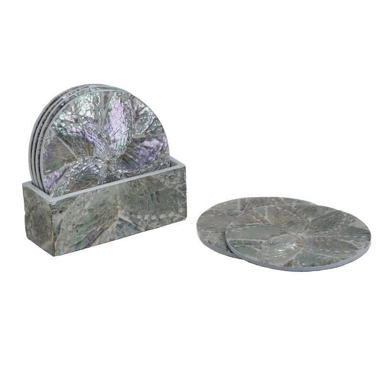 S/6 Σουβέρ με βάση polyresin μωβ 11x5x11cm Inart 3-70-047-0027