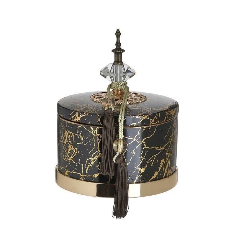 Δοχείο διακοσμητικό με καπάκι κεραμικό μαύρο/χρυσό 18x18x24cm Inart 3-70-743-0194