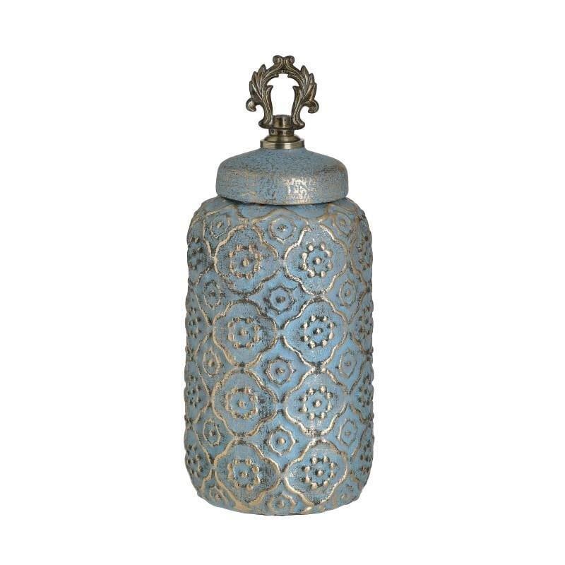 Βάζο διακοσμητικό με καπάκι κεραμικό/μεταλλικό χρυσό/γαλάζιο 14x14x28cm Inart 3-70-140-0024