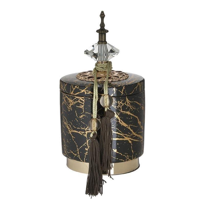 Δοχείο διακοσμητικό με καπάκι κεραμικό μαύρο/χρυσό 14x14x25cm Inart 3-70-743-0195