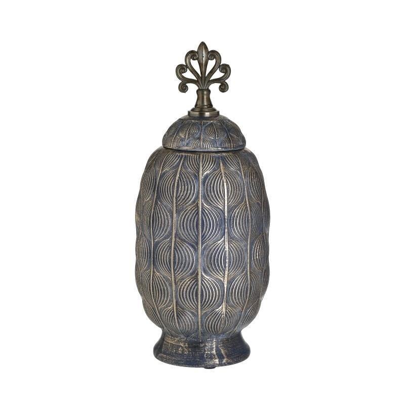 Βάζο διακοσμητικό με καπάκι κεραμικό αντικέ χρυσό/μπλε 14x14x34cm Inart 3-70-140-0028