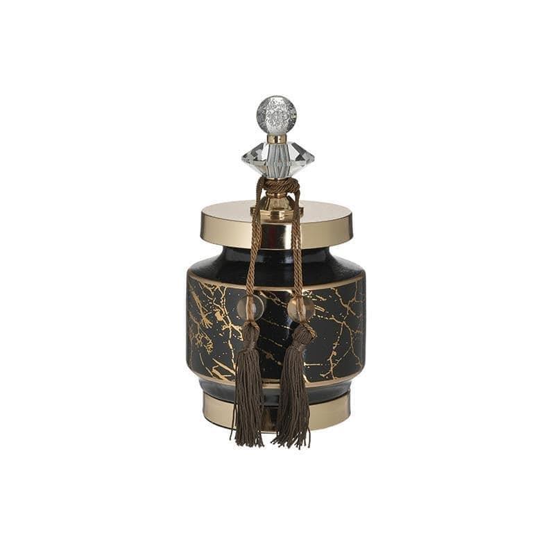 Δοχείο διακοσμητικό με καπάκι κεραμικό μαύρο/χρυσό 13x13x25cm Inart 3-70-743-0200