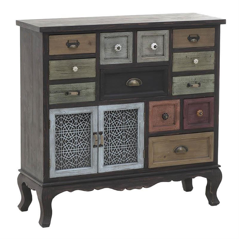 Συρταριέρα ξύλινη καφέ/multi 96x33x92cm Inart 3-50-913-0016