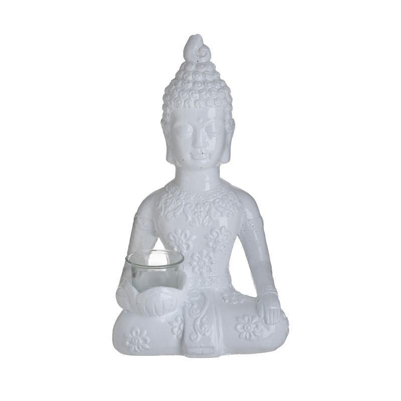 Κηροπήγιο βούδας κεραμικός λευκός 20x14x35cm Inart 3-70-327-0130