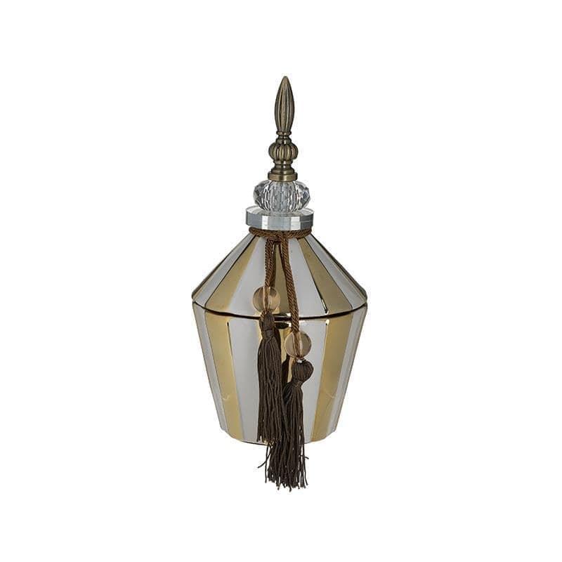 Δοχείο διακοσμητικό με καπάκι κεραμικό λευκό/χρυσό 13x13x28cm Inart 3-70-743-0209