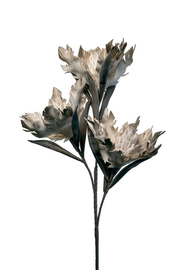 Λουλούδι διακοσμητικό τριπλό κοφτό κρεμ/καφέ