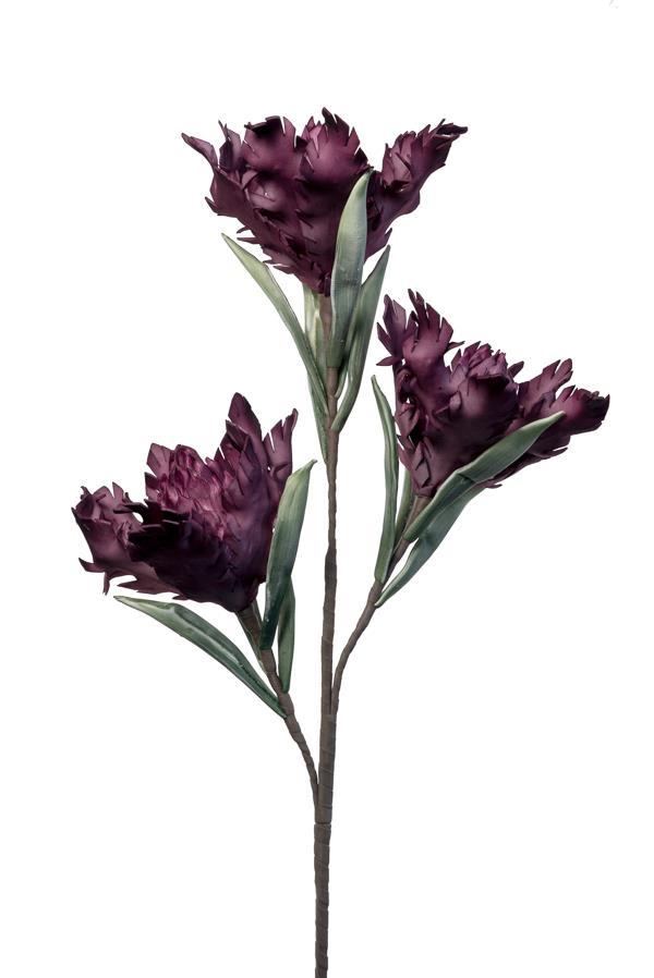 Λουλούδι διακοσμητικό τριπλό κοφτό μπορντώ/κόκκινο