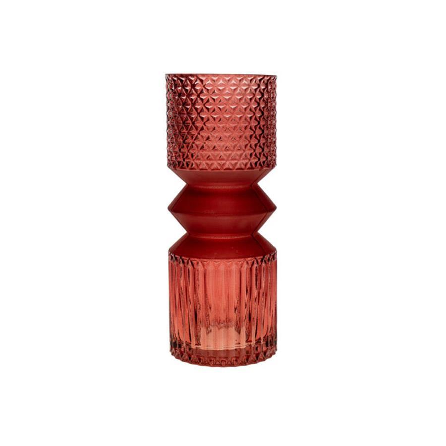 Βάζο διακοσμητικό φυσητό γυαλί ροζ/μωβ 11x11x29cm