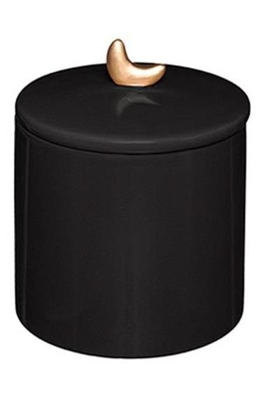 Βάζο διακοσμητικό με καπάκι gypsy κεραμικό μαύρο 10.2×13.5cm