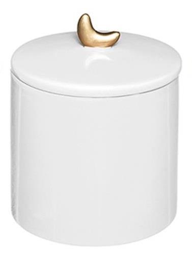Βάζο διακοσμητικό με καπάκι gypsy κεραμικό λευκό 10.2×13.5cm