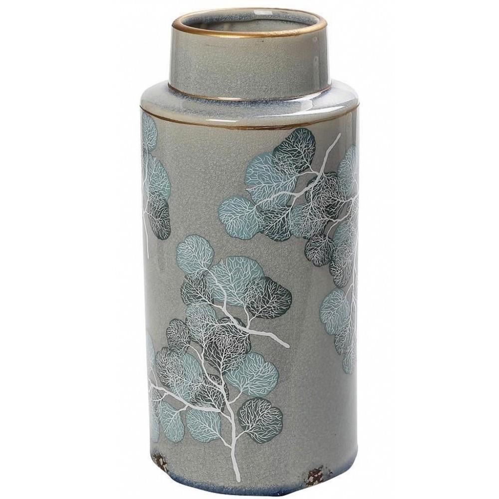 Βάζο διακοσμητικό φύλλα κεραμικό γκρι/γαλάζιο 14.5×14.5×32.5cm Espiel CER2258