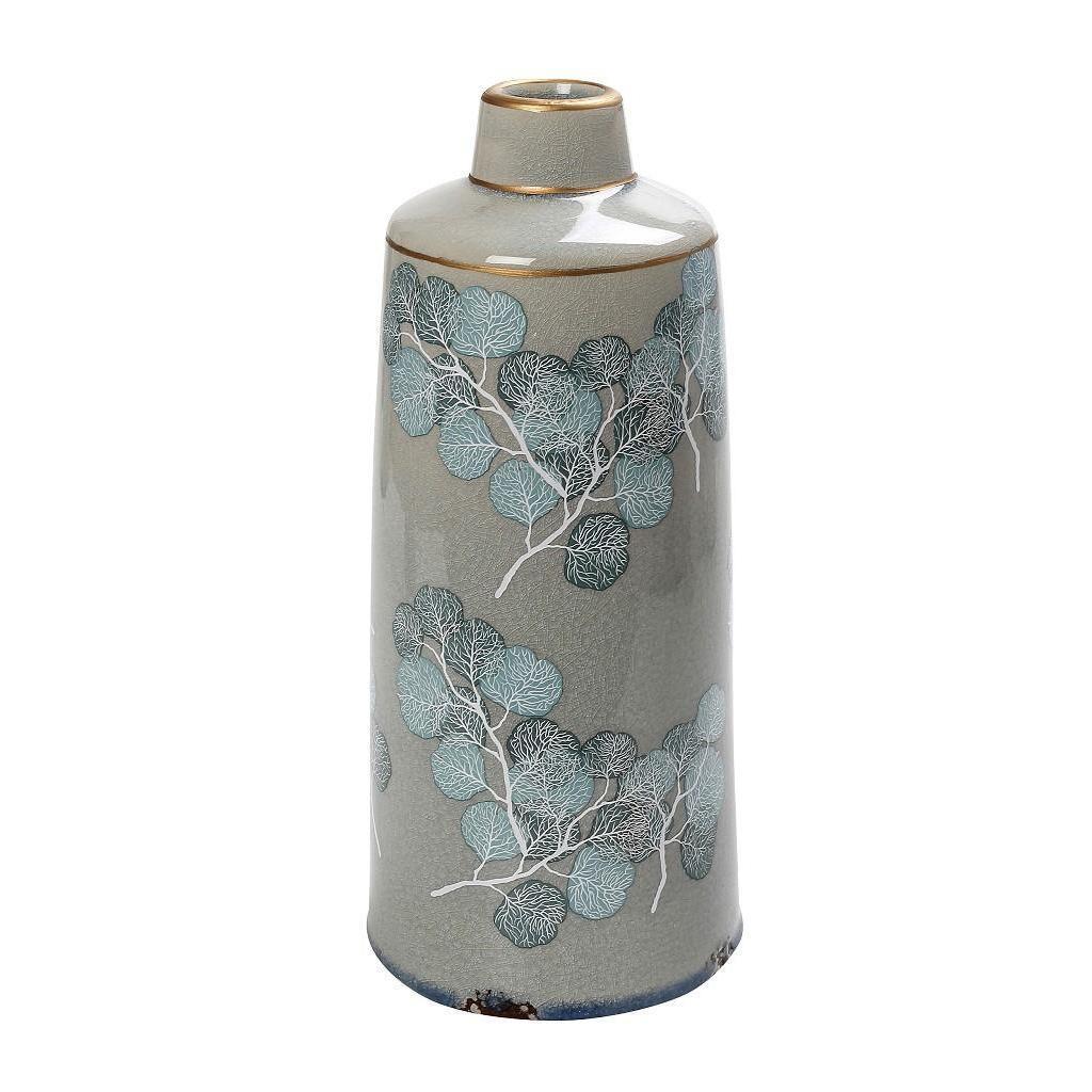 Βάζο διακοσμητικό φύλλα κεραμικό γκρι/γαλάζιο 14x14x32cm Espiel CER2264