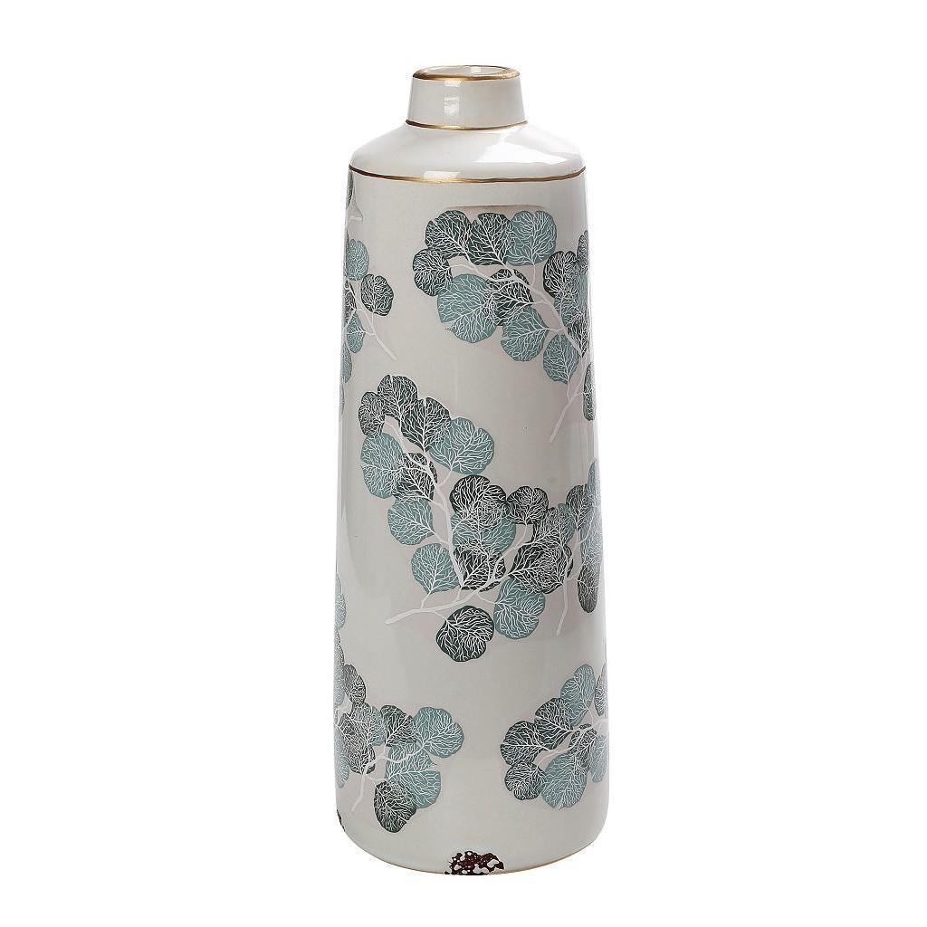 Βάζο διακοσμητικό φύλλα κεραμικό κρεμ/γαλάζιο 17.5×17.5x47cm Espiel CER2266