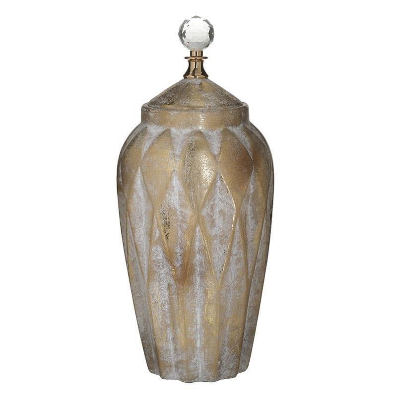 Βάζο διακοσμητικό με καπάκι κεραμικό αντικέ χρυσό 18x18x40cm Inart 3-70-902-0125