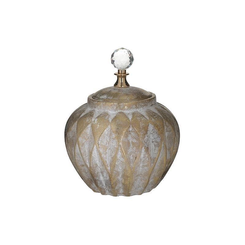 Βάζο διακοσμητικό με καπάκι κεραμικό αντικέ χρυσό 20x20x26cm Inart 3-70-902-0127