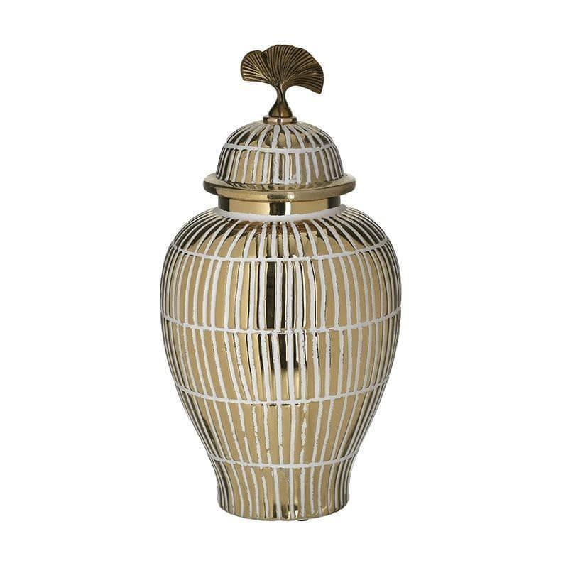 Βάζο διακοσμητικό με καπάκι κεραμικό λευκό/χρυσό 18x18x36cm Inart 3-70-902-0135