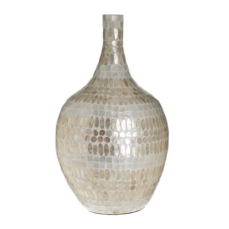Βάζο διακοσμητικό ξύλινο με οστρακα εκρού/χρυσό 29x50cm Inart 3-70-564-0095