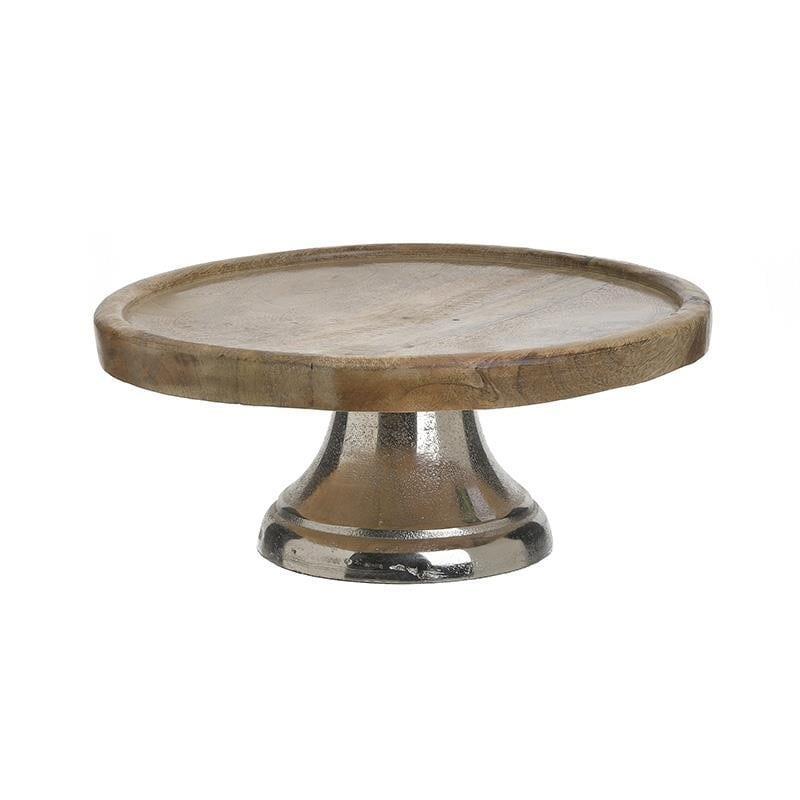 Τουρτιέρα μεταλλική/ξύλινη natural/ασημί 25x25x13cm Inart 3-60-985-0001