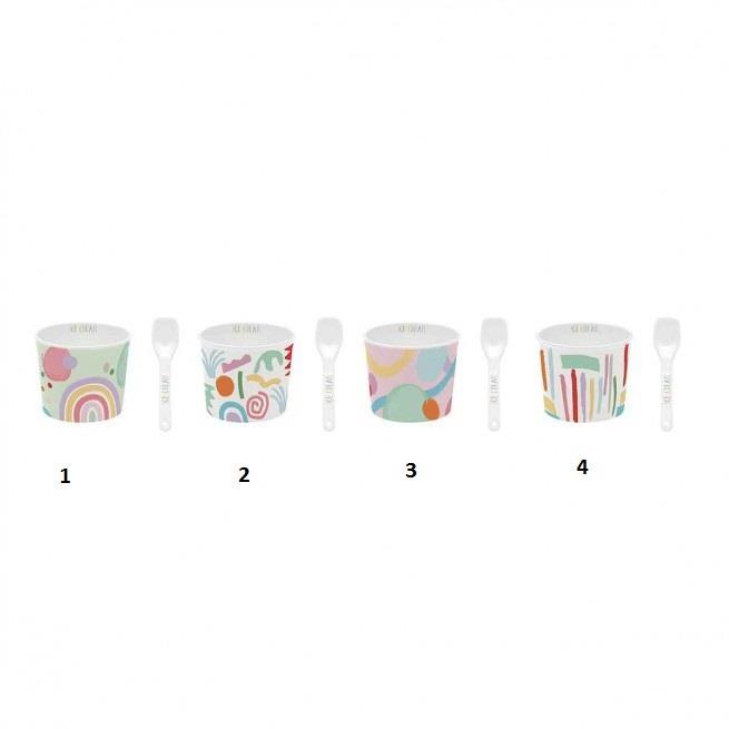 Μπωλ παγωτού με κουτάλι Good Vibes(Σχέδιο 1) πορσελάνινο πολύχρωμο 8.5x7cm Marva 084GΟVΙ-1